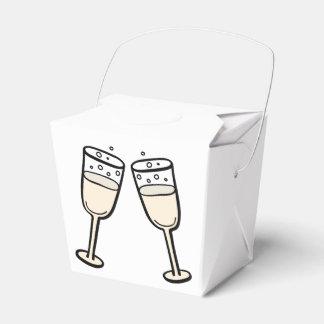 シャンペンガラスの白黒結婚披露宴 フェイバーボックス