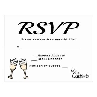 シャンペンガラスを結婚する快活で黒く、白いRSVP ポストカード