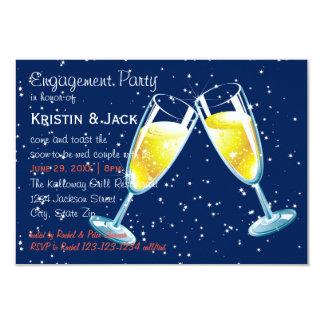 シャンペンガラス夜- 3x5婚約パーティ カード