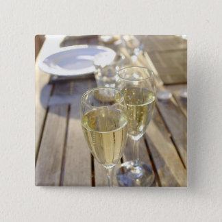 シャンペンガラス 5.1CM 正方形バッジ