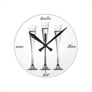 シャンペンフルート ラウンド壁時計