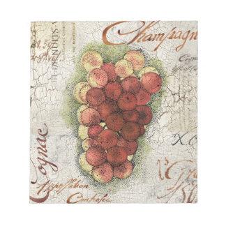 シャンペン及びコニャックのブドウ ノートパッド