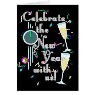 シャンペン及び紙吹雪との明けましておめでとう カード