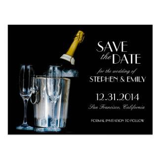 シャンペン大晦日のフォーマルな保存日付 ポストカード