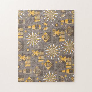 シャンペン幸せな休日の金ゴールドおよびパターン ジグソーパズル