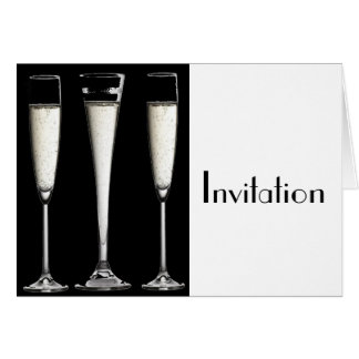 シャンペン白黒ガラス カード