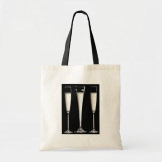 シャンペン白黒ガラス トートバッグ