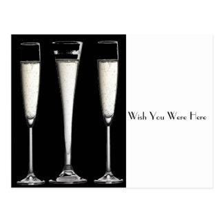 シャンペン白黒ガラス ポストカード