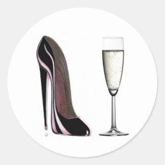 シャンペン黒い小剣の靴およびガラス ラウンドシール