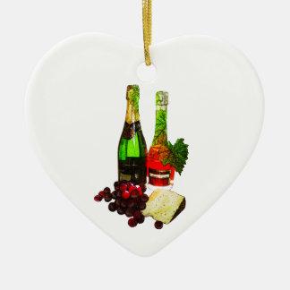 シャンペン、ブドウおよびチーズ芸術 セラミックオーナメント