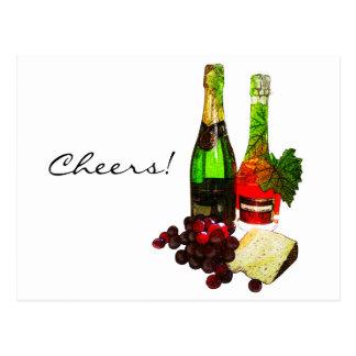 シャンペン、ブドウおよびチーズ芸術 ポストカード