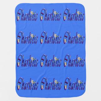 シャーロットの名前、ロゴのBabysの青のフリースブランケット ベビー ブランケット
