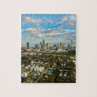 シャーロットノースカロライナの夕べ都市上の日没 ジグソーパズル