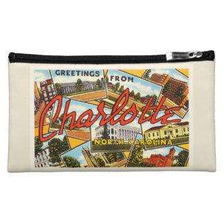 シャーロットノースカロライナNCの古いヴィンテージの郵便はがき コスメティックバッグ