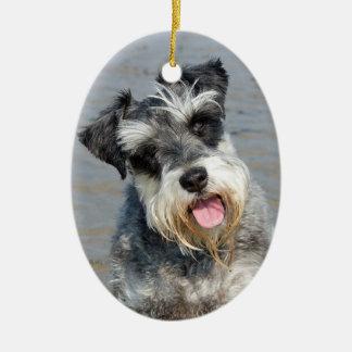 シュナウツァーのミニチュア犬のかわいい写真のポートレート、ギフト セラミックオーナメント