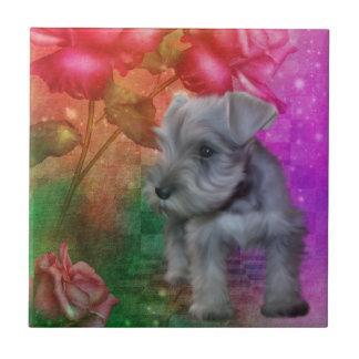 シュナウツァーの小犬動物の芸術 タイル