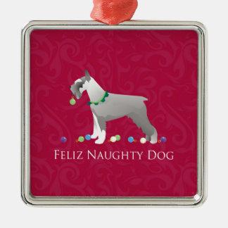シュナウツァーのFelizいけない犬のクリスマスのデザイン メタルオーナメント