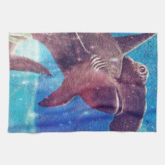 シュモクザメの絵画 キッチンタオル