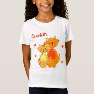 ショウガ猫および子ネコによってすごいかわいい名前入り Tシャツ
