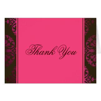 ショッキングピンクおよびチョコレート色は感謝していしています カード
