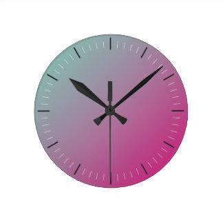 ショッキングピンクおよびティール(緑がかった色) |の抽象芸術 ラウンド壁時計