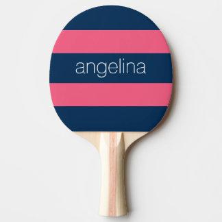 ショッキングピンクおよび海軍モダンなラグビーは名前と縞で飾ります 卓球ラケット