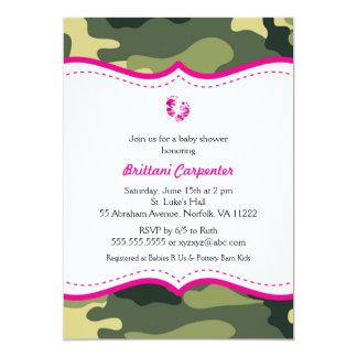 ショッキングピンクおよび緑のカムフラージュのベビーシャワーの招待 カード