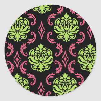 ショッキングピンクおよび緑のダマスク織 ラウンドシール