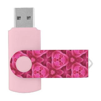 ショッキングピンクおよび赤い花柄の抽象芸術のばら色パターン USBフラッシュドライブ