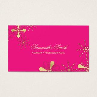 ショッキングピンクおよび金ゴールドの花のインディアンによってインスパイアデザイン 名刺