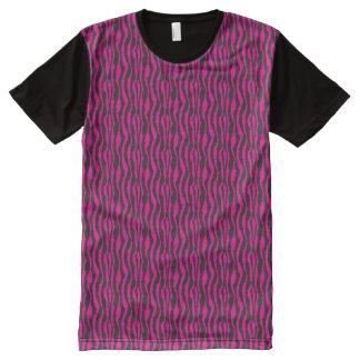 ショッキングピンクおよび黒いシマウマパターン オールオーバープリントT シャツ