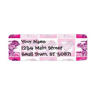 ショッキングピンクのつぼのポップアートMosの紫色の花の花束 ラベル