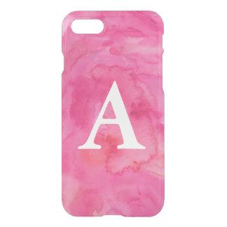 ショッキングピンクのイニシャルの水彩画のiPhone 7の場合 iPhone 7ケース