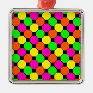 ショッキングピンクのオレンジ緑の黒い正方形の六角形 メタルオーナメント