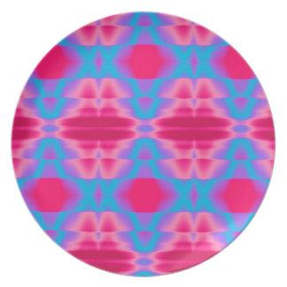 ショッキングピンクのカッコいいの青の抽象芸術 プレート