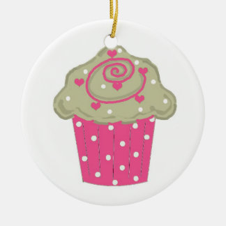ショッキングピンクのカップケーキ セラミックオーナメント