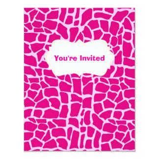 ショッキングピンクのキリンパターン カード