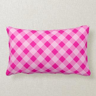 ショッキングピンクのギンガムの点検の格子縞パターン装飾用クッション ランバークッション