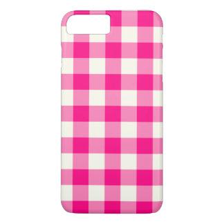 ショッキングピンクのギンガムのiPhone 7のプラスの場合 iPhone 8 Plus/7 Plusケース