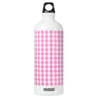 ショッキングピンクのギンガムパターン ウォーターボトル