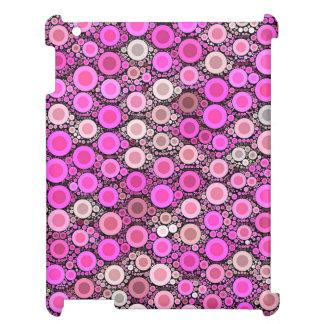 ショッキングピンクのクリームの水玉模様 iPad カバー