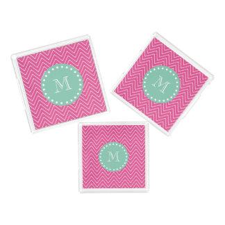 ショッキングピンクのシェブロンパターン|真新しい緑のモノグラム アクリルトレー