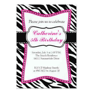 ショッキングピンクのシマウマの子供の誕生日の招待 カード