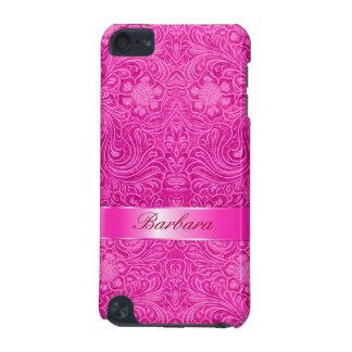 ショッキングピンクのスエードのレザールックの花柄のモノグラム iPod TOUCH 5G ケース