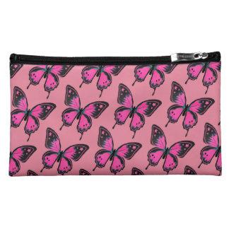 ショッキングピンクのスエードの蝶 コスメティックバッグ