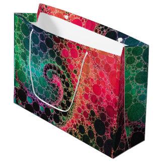 ショッキングピンクのターコイズの緑の抽象芸術 ラージペーパーバッグ