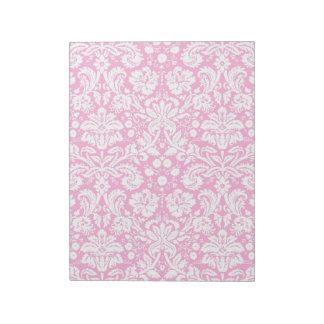 ショッキングピンクのダマスク織パターン ノートパッド