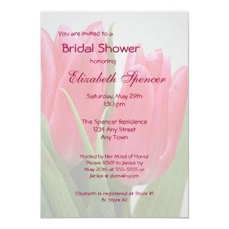 ショッキングピンクのチューリップのブライダルシャワーの招待状 カード