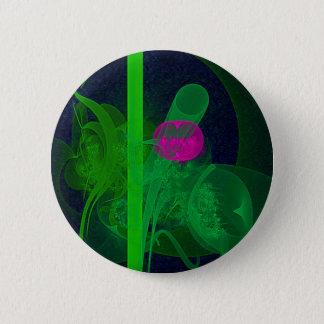 ショッキングピンクのチューリップのFaeryの集会場の抽象美術 5.7cm 丸型バッジ