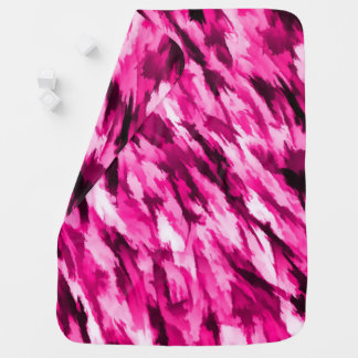 ショッキングピンクのデザイナー迷彩柄 ベビー ブランケット